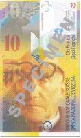 Banknot 10 franków szwajcarskich - front