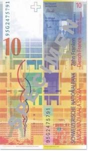 Banknot 10 franków szwajcarskich - tył