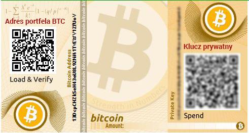 Papierowy portfel BTC do wydruku
