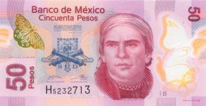 50 peso meksykańskich (przód)