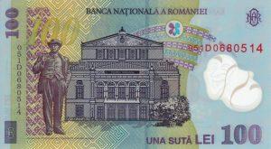 100 lei rumuńskich (rewers)