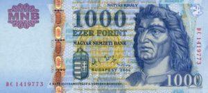 1000 forintów węgierskich (HUF) awers