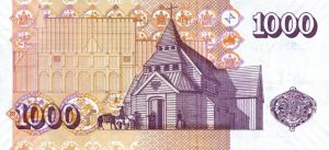 1000 dolarów islandzkich - rewers