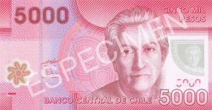 5000 peso chilijskich (awers)