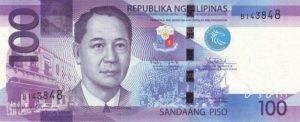 100 peso filipińskich (awers)