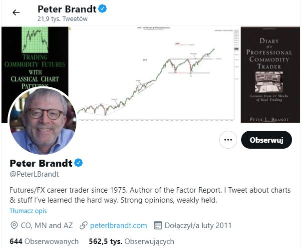 Peter Brandt i jego kanał na Twitterze